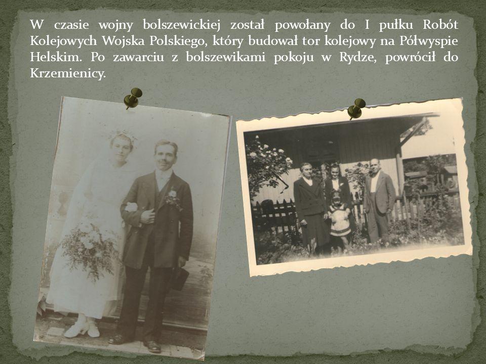 W czasie wojny bolszewickiej został powołany do I pułku Robót Kolejowych Wojska Polskiego, który budował tor kolejowy na Półwyspie Helskim.