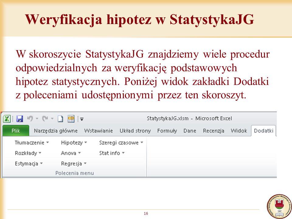 Weryfikacja hipotez w StatystykaJG