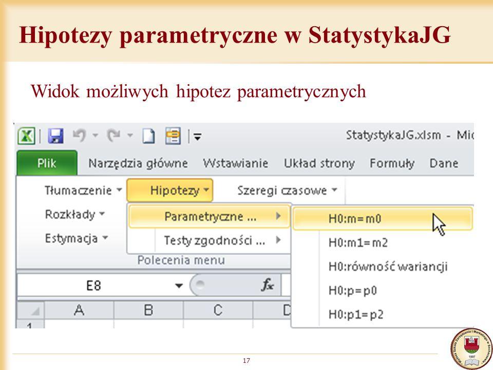 Hipotezy parametryczne w StatystykaJG