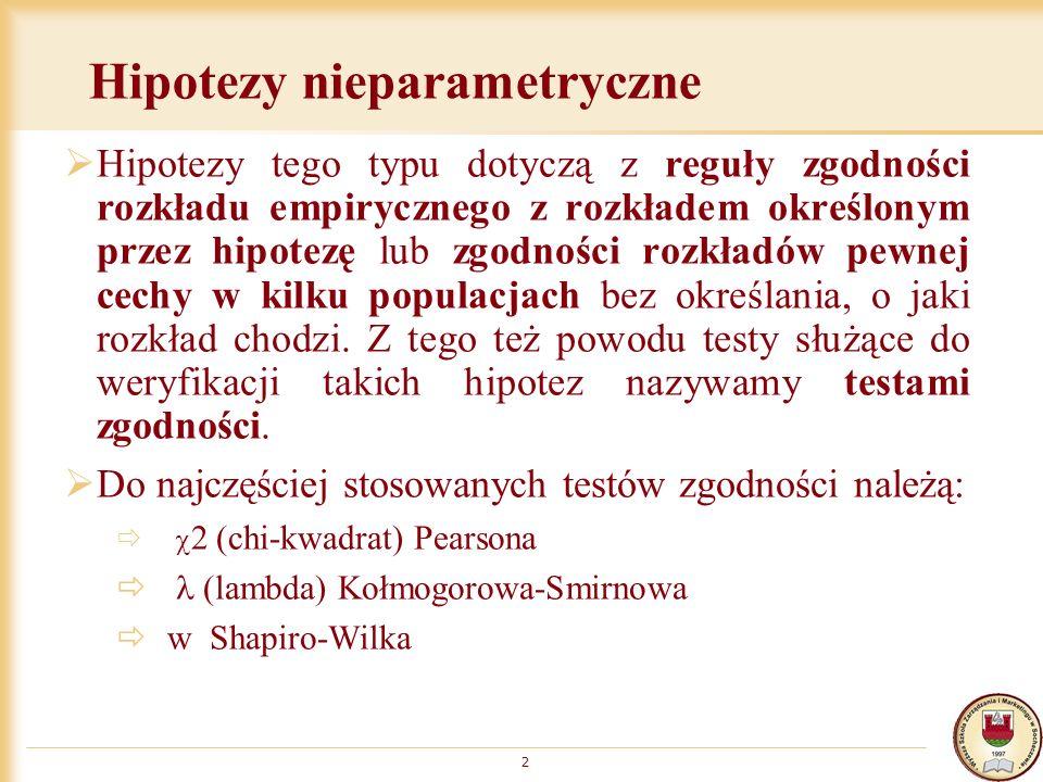 Hipotezy nieparametryczne