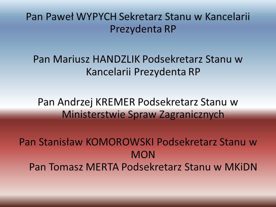 Pan Paweł WYPYCH Sekretarz Stanu w Kancelarii Prezydenta RP