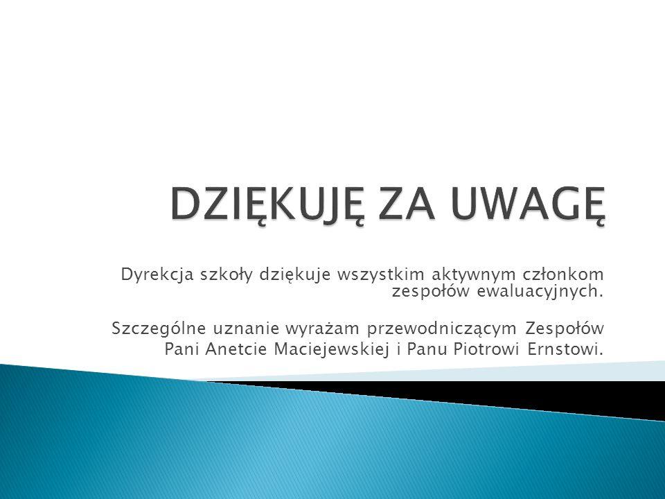 DZIĘKUJĘ ZA UWAGĘ Dyrekcja szkoły dziękuje wszystkim aktywnym członkom zespołów ewaluacyjnych. Szczególne uznanie wyrażam przewodniczącym Zespołów.