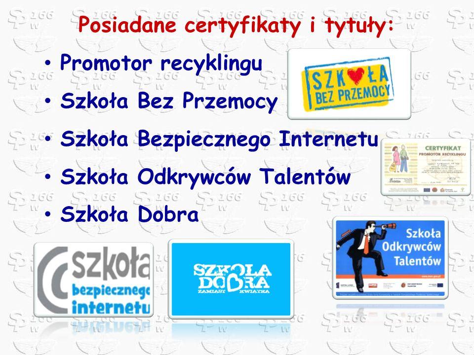 Posiadane certyfikaty i tytuły: