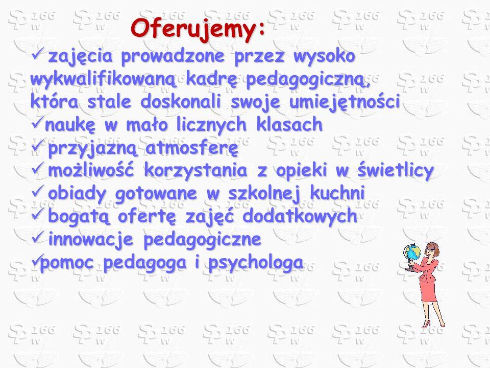 Oferujemy: zajęcia prowadzone przez wysoko wykwalifikowaną kadrę pedagogiczną, która stale doskonali swoje umiejętności.