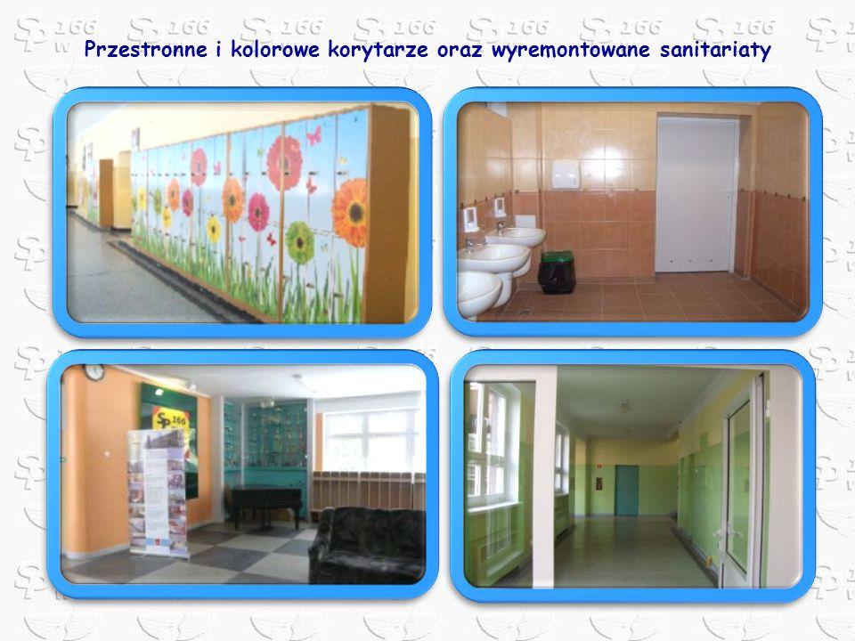 Przestronne i kolorowe korytarze oraz wyremontowane sanitariaty