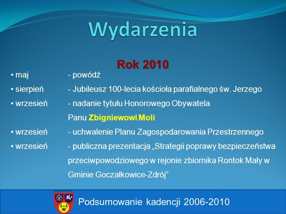 Wydarzenia Rok 2010 Podsumowanie kadencji 2006-2010 maj - powódź