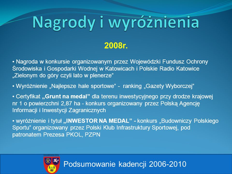 Nagrody i wyróżnienia 2008r. Podsumowanie kadencji 2006-2010