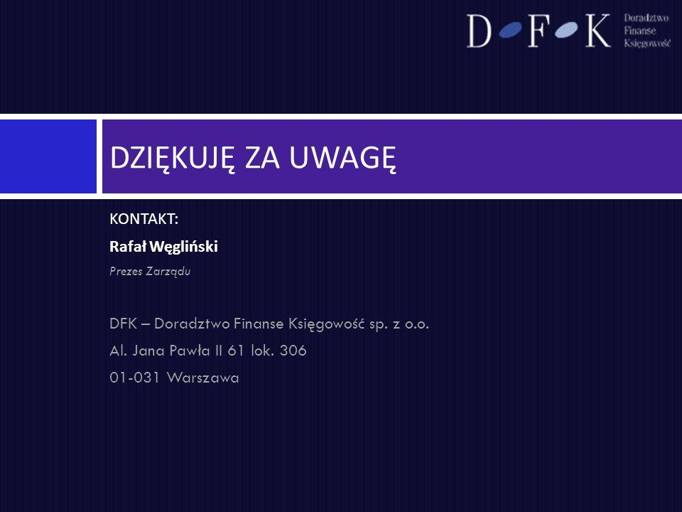 Dziękuję za uwagę KONTAKT: Rafał Węgliński
