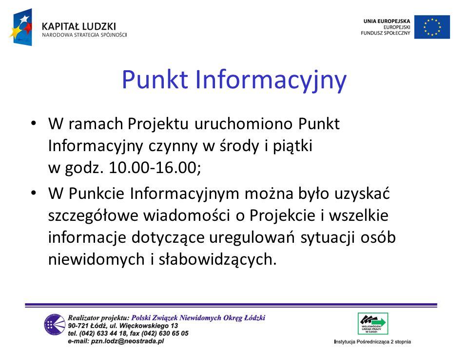 Punkt Informacyjny W ramach Projektu uruchomiono Punkt Informacyjny czynny w środy i piątki w godz. 10.00-16.00;