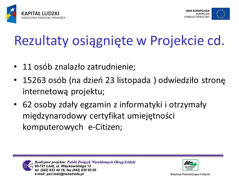 Rezultaty osiągnięte w Projekcie cd.