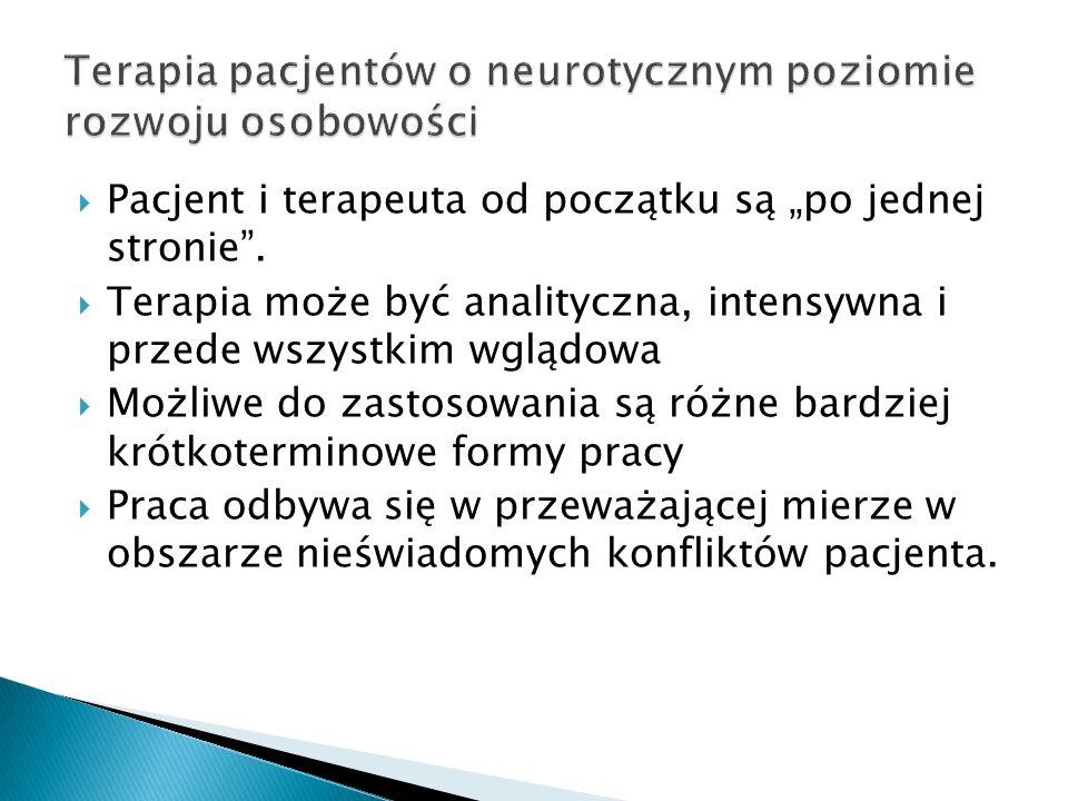 Terapia pacjentów o neurotycznym poziomie rozwoju osobowości