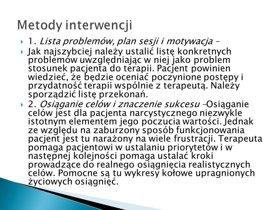 Metody interwencji 1. Lista problemów, plan sesji i motywacja –