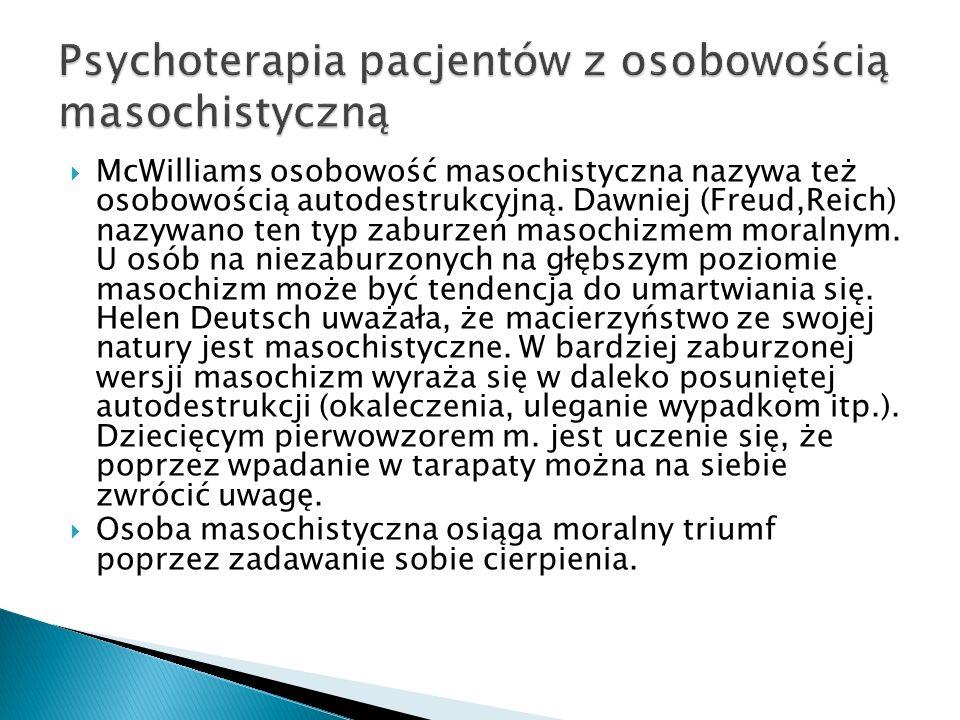 Psychoterapia pacjentów z osobowością masochistyczną