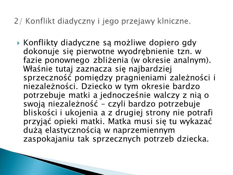 2/ Konflikt diadyczny i jego przejawy klniczne.