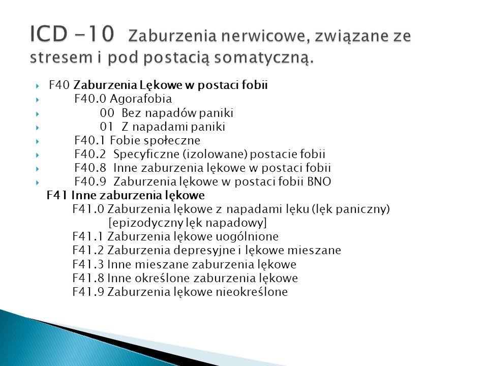 ICD -10 Zaburzenia nerwicowe, związane ze stresem i pod postacią somatyczną.