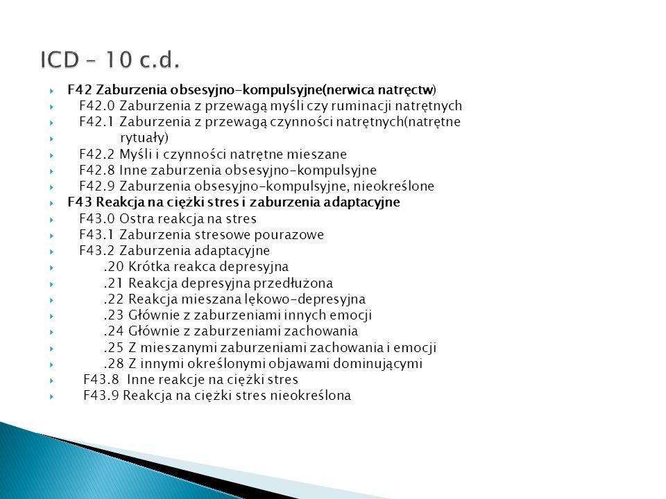 ICD – 10 c.d. F42 Zaburzenia obsesyjno-kompulsyjne(nerwica natręctw)
