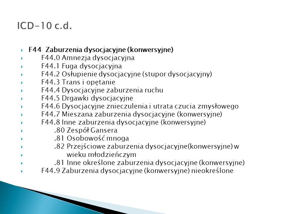 ICD-10 c.d. F44 Zaburzenia dysocjacyjne (konwersyjne)