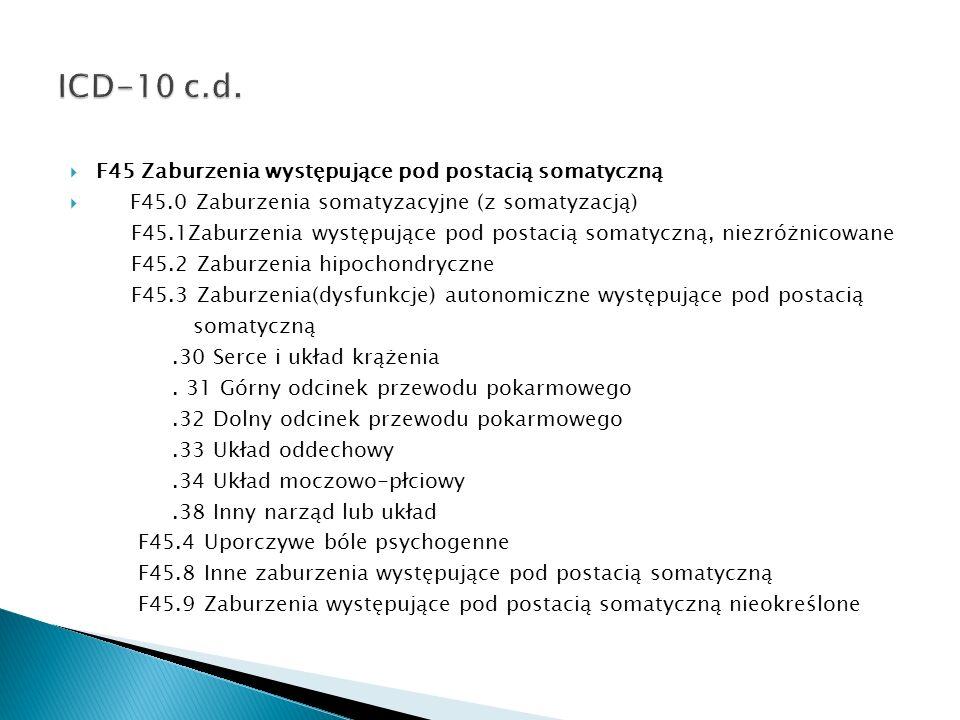 ICD-10 c.d. F45 Zaburzenia występujące pod postacią somatyczną