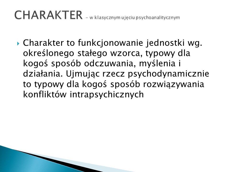 CHARAKTER - w klasycznym ujęciu psychoanalitycznym