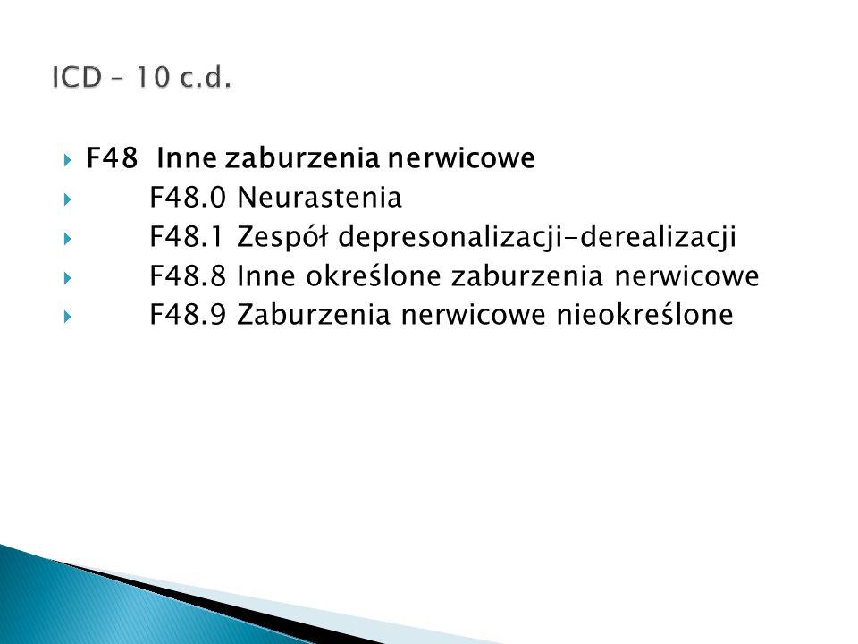 ICD – 10 c.d. F48 Inne zaburzenia nerwicowe. F48.0 Neurastenia. F48.1 Zespół depresonalizacji-derealizacji.
