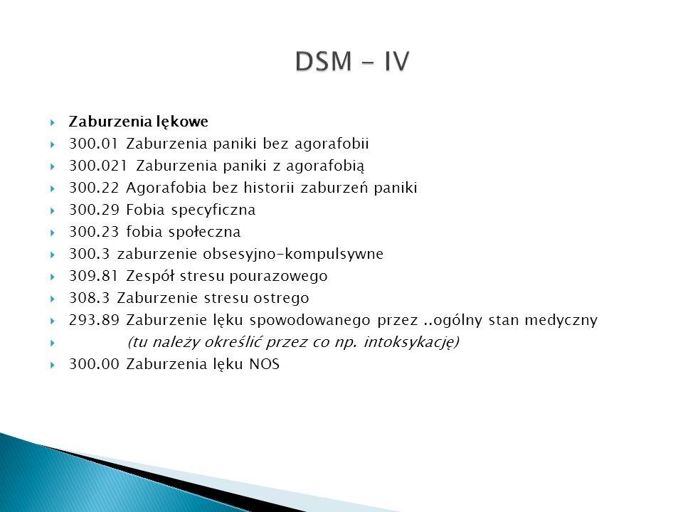 DSM - IV Zaburzenia lękowe 300.01 Zaburzenia paniki bez agorafobii