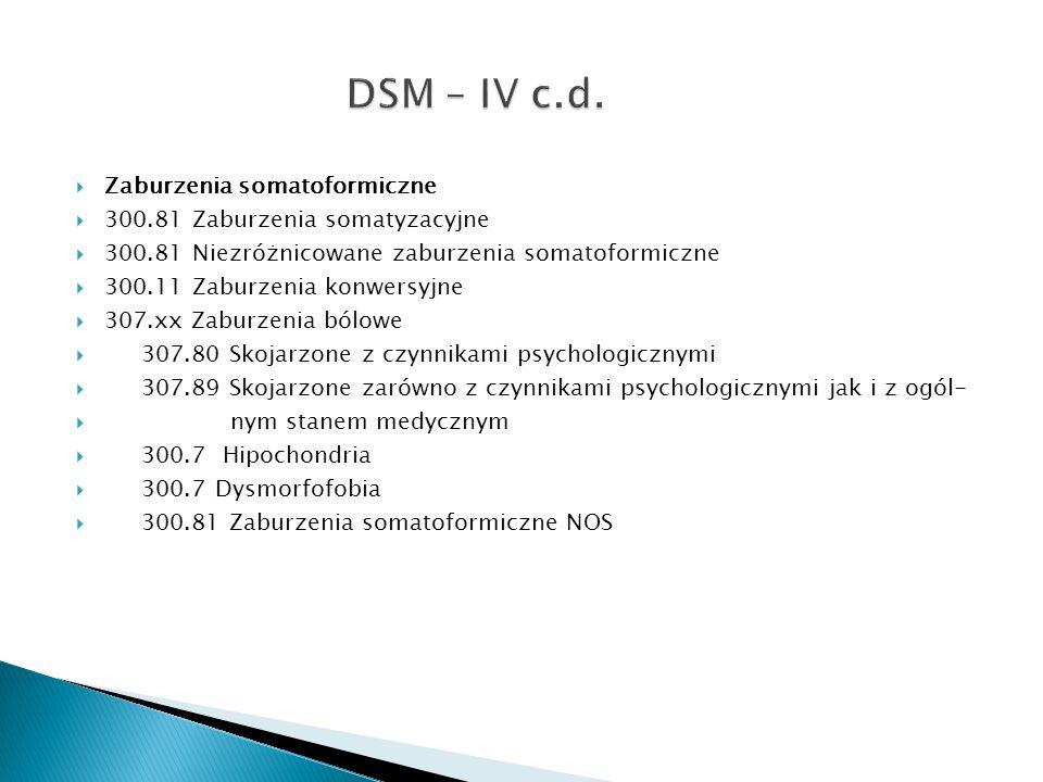 DSM – IV c.d. Zaburzenia somatoformiczne