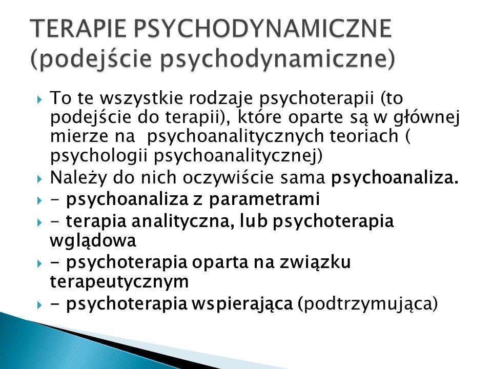 TERAPIE PSYCHODYNAMICZNE (podejście psychodynamiczne)