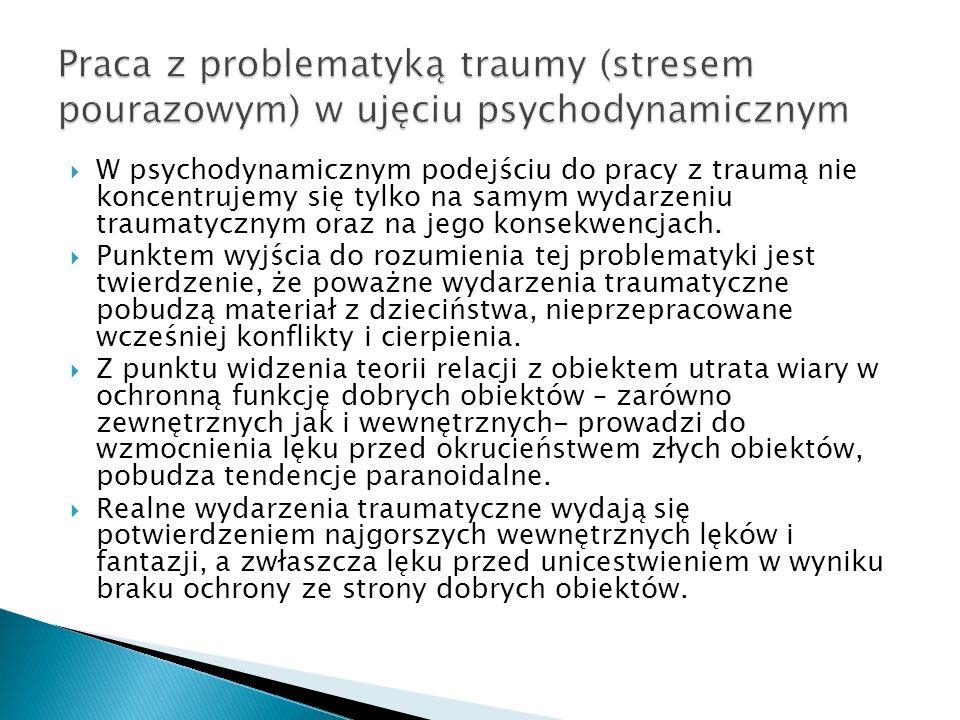 Praca z problematyką traumy (stresem pourazowym) w ujęciu psychodynamicznym