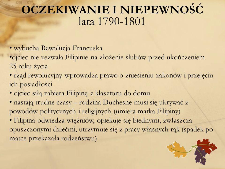 OCZEKIWANIE I NIEPEWNOŚĆ lata 1790-1801