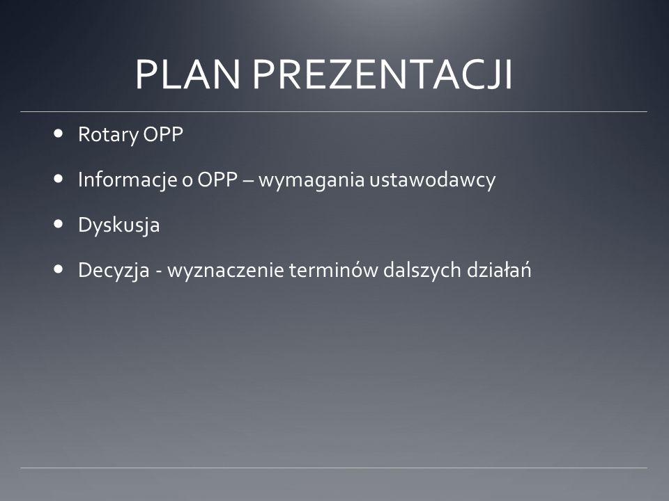 PLAN PREZENTACJI Rotary OPP Informacje o OPP – wymagania ustawodawcy