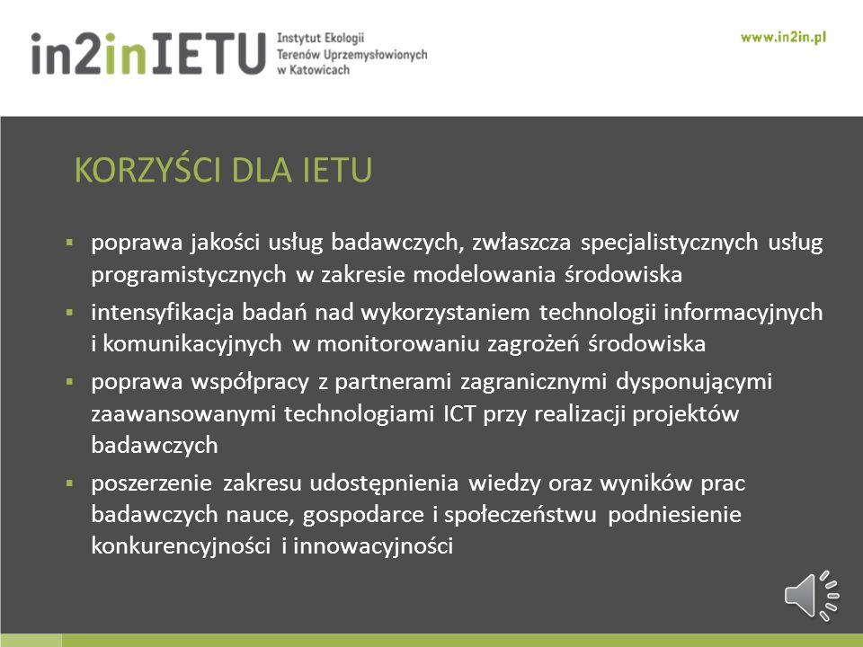 KORZYŚCI DLA IETU poprawa jakości usług badawczych, zwłaszcza specjalistycznych usług programistycznych w zakresie modelowania środowiska.