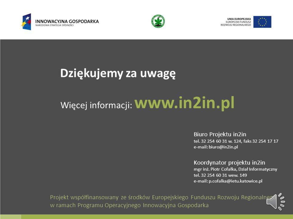 Dziękujemy za uwagę Więcej informacji: www.in2in.pl