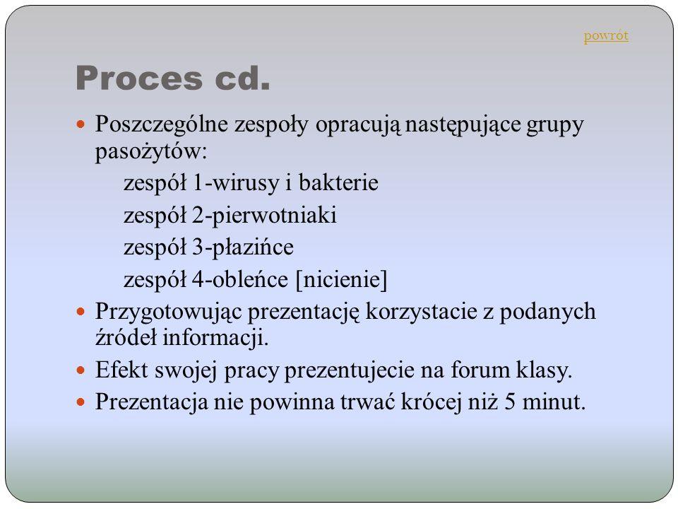 Proces cd. Poszczególne zespoły opracują następujące grupy pasożytów: