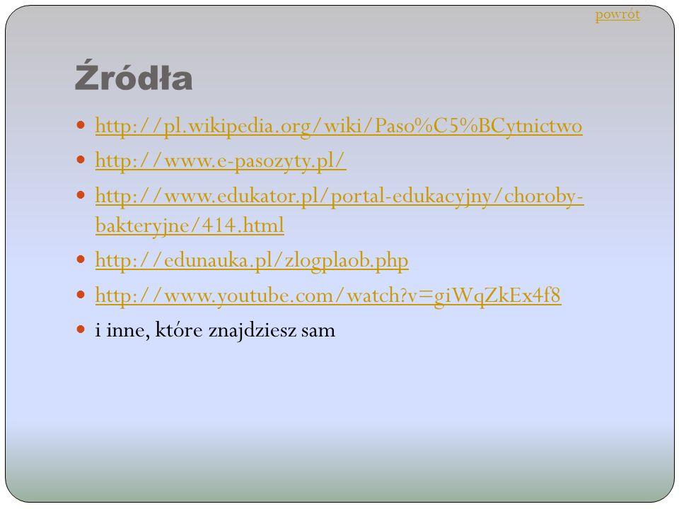 Źródła http://pl.wikipedia.org/wiki/Paso%C5%BCytnictwo