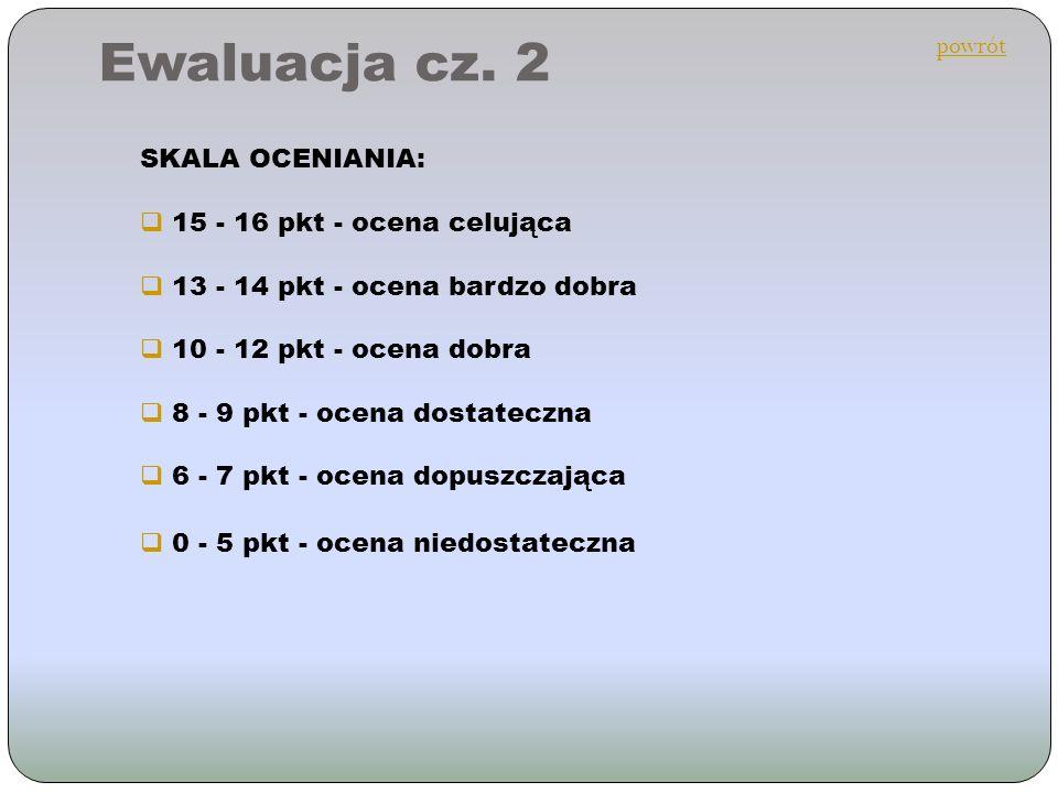 Ewaluacja cz. 2 powrót SKALA OCENIANIA: 15 - 16 pkt - ocena celująca