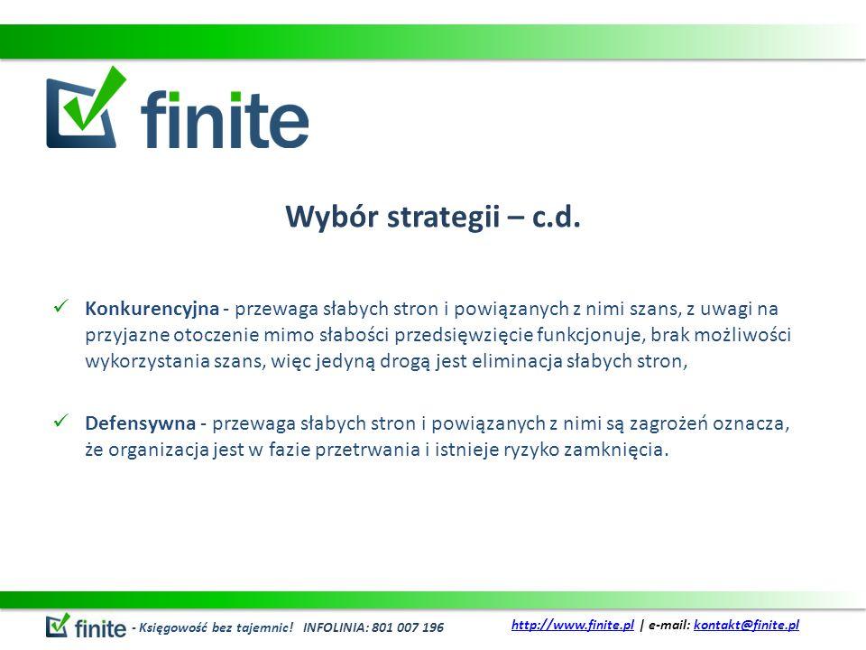 Wybór strategii – c.d.