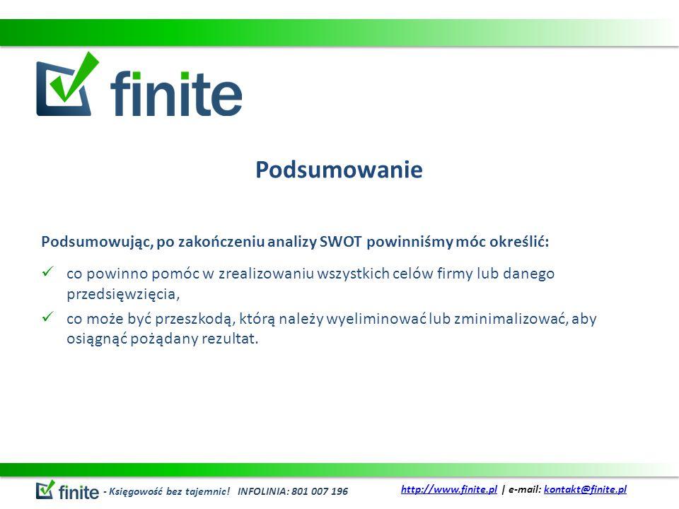 Podsumowanie Podsumowując, po zakończeniu analizy SWOT powinniśmy móc określić: