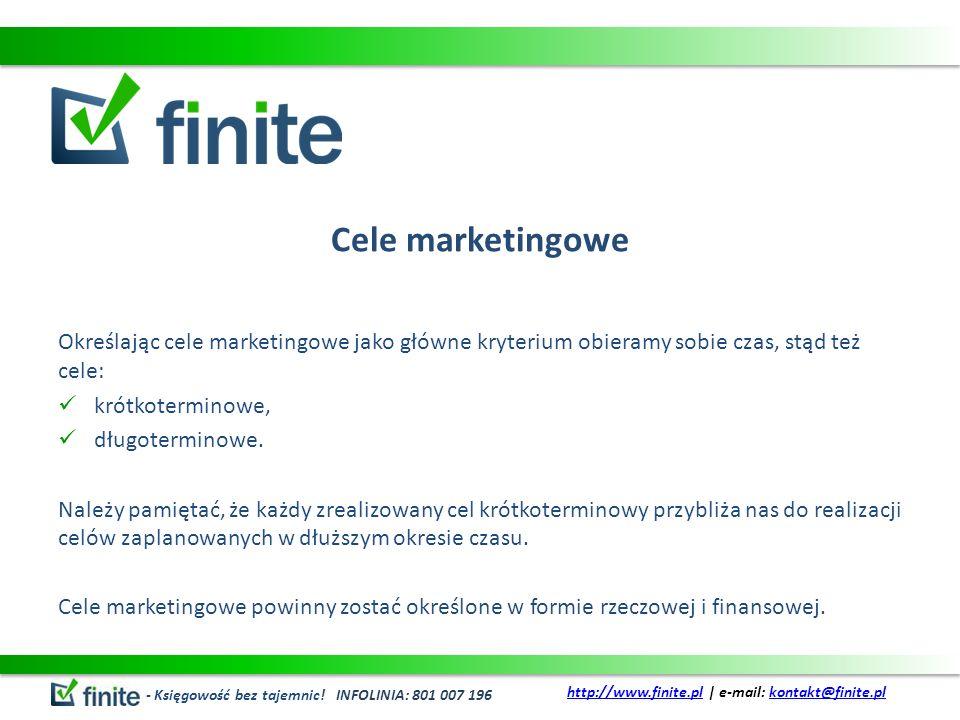 Cele marketingowe Określając cele marketingowe jako główne kryterium obieramy sobie czas, stąd też cele: