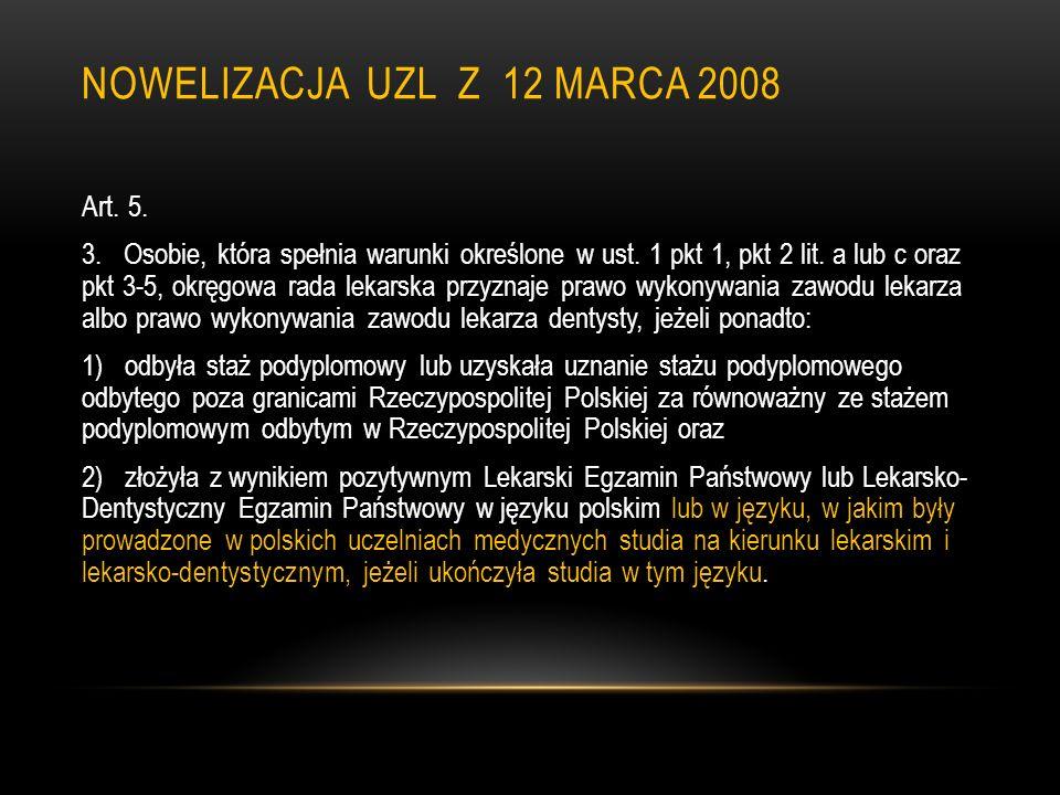 Nowelizacja uzl z 12 marca 2008