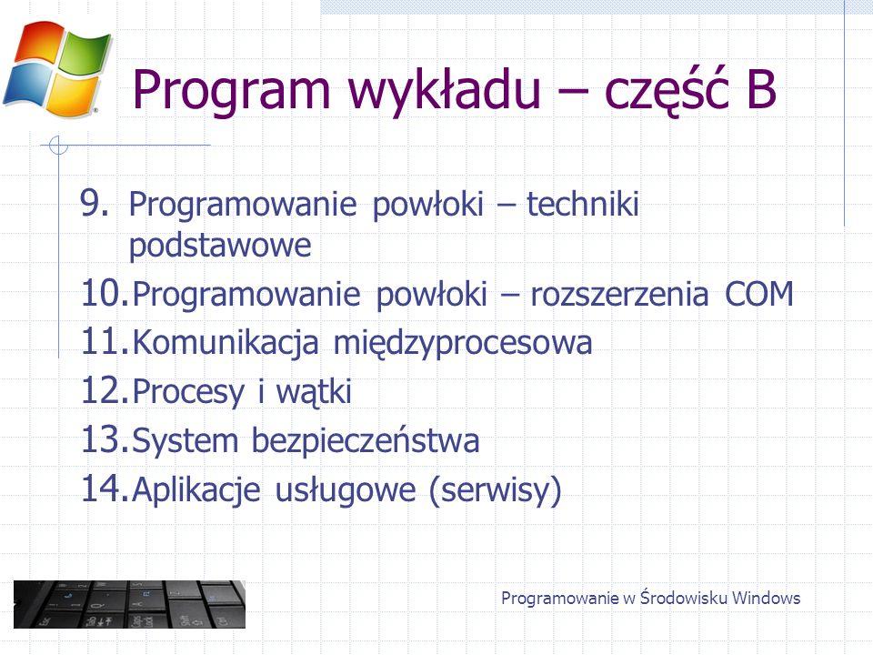 Program wykładu – część B