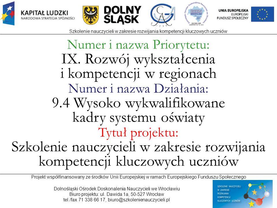 IX. Rozwój wykształcenia i kompetencji w regionach
