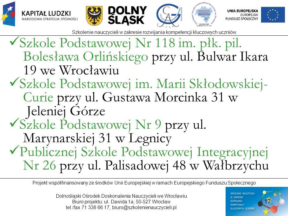 Szkole Podstawowej Nr 118 im. płk. pil.