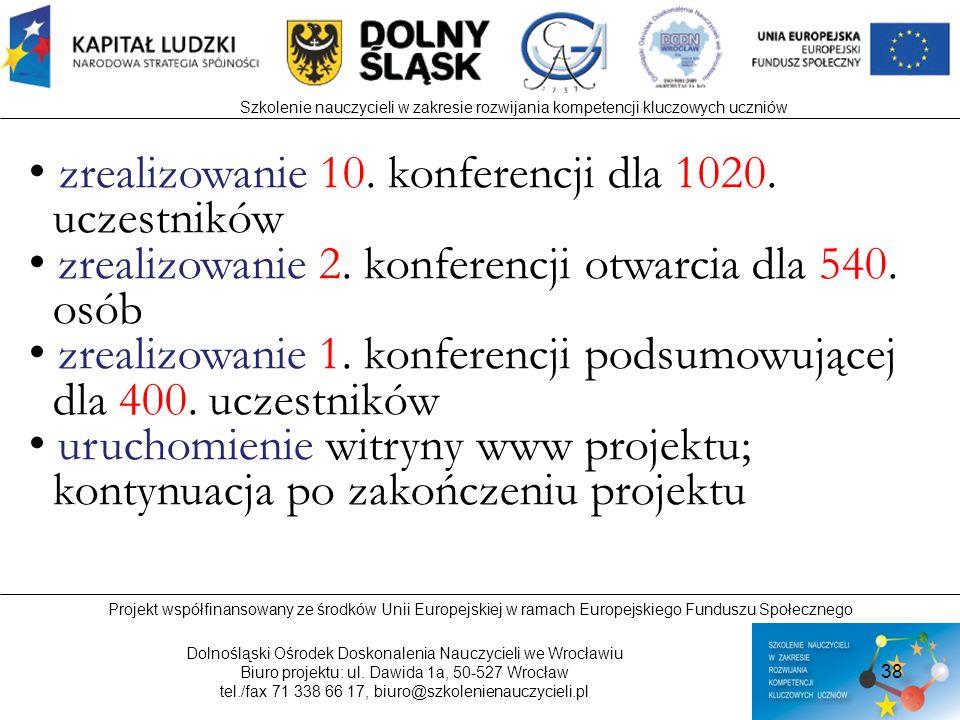 zrealizowanie 10. konferencji dla 1020. uczestników
