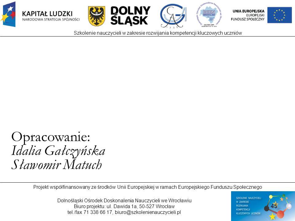 Opracowanie: Idalia Gałczyńska Sławomir Matuch