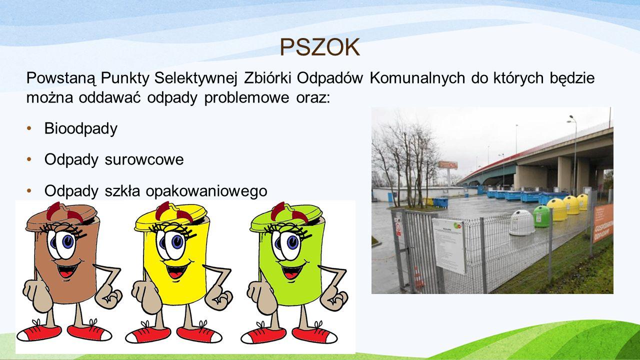 PSZOK Powstaną Punkty Selektywnej Zbiórki Odpadów Komunalnych do których będzie można oddawać odpady problemowe oraz: