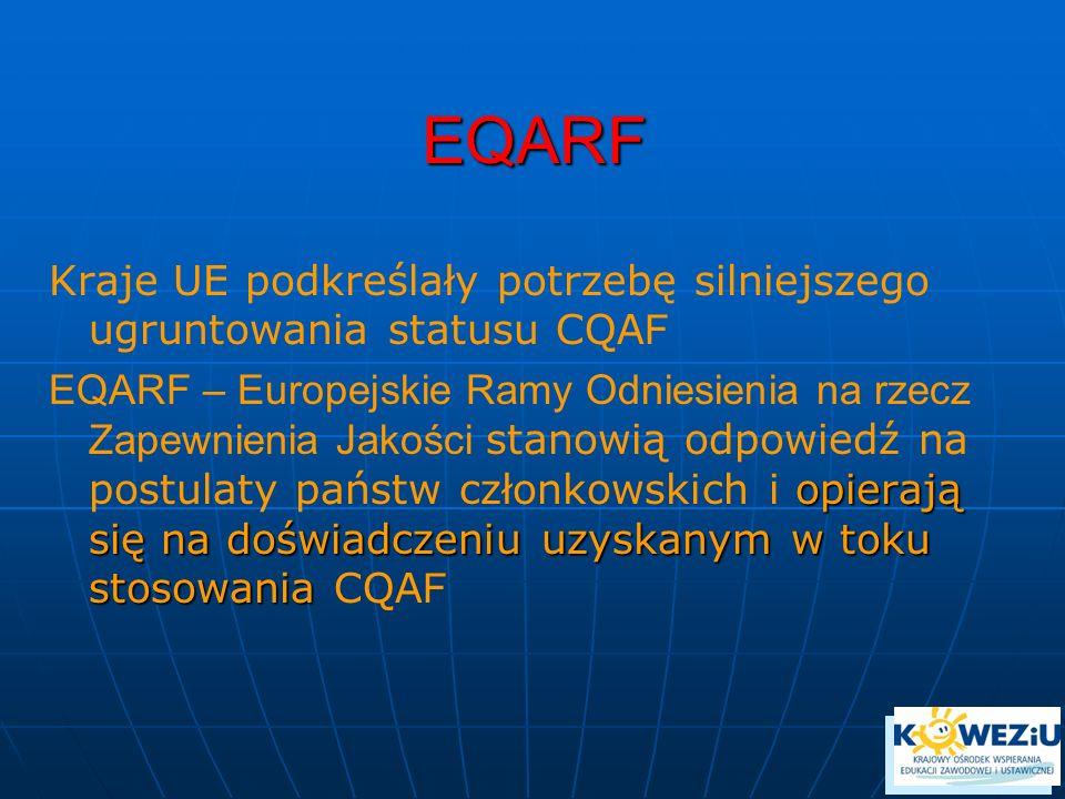 EQARF Kraje UE podkreślały potrzebę silniejszego ugruntowania statusu CQAF.