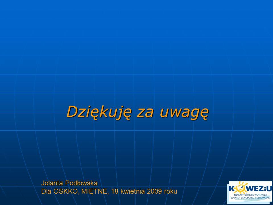 Dziękuję za uwagę Jolanta Podłowska