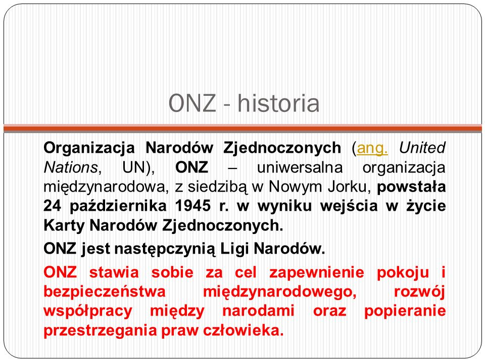ONZ - historia