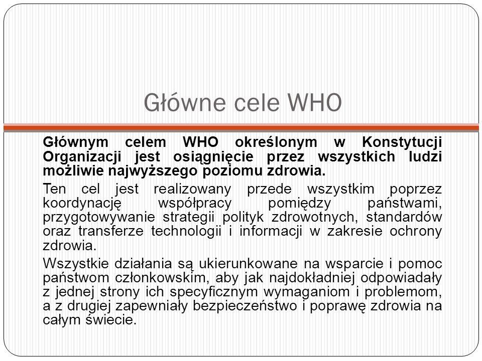 Główne cele WHO