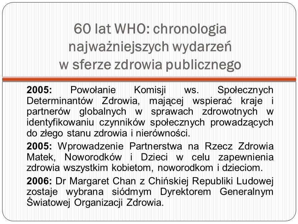 60 lat WHO: chronologia najważniejszych wydarzeń w sferze zdrowia publicznego